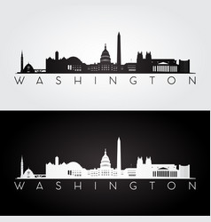 Washington usa skyline and landmarks silhouette vector
