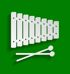 xylophone sign paper whitish icon with vector image vector image