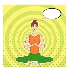Yogi girl in pop-art style Asana lotus posture vector image