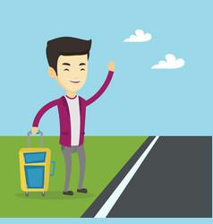 young man hitchhiking vector image