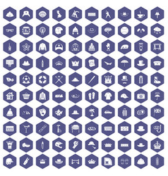 100 hat icons hexagon purple vector