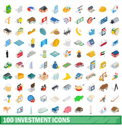 100 investment icons set isometric 3d style vector image