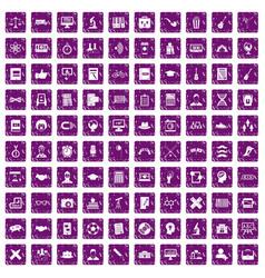 100 student icons set grunge purple vector