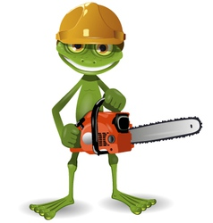 Frog with a chainsaw vector image