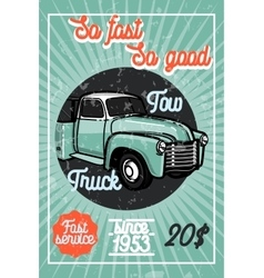 Color vintage car tow truck poster vector