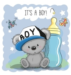Cute Cartoon Teddy bear boy vector image