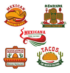 Mexican food restaurant emblem set design vector