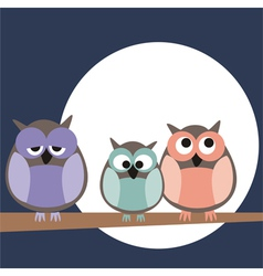 Owl family on tree at night vector