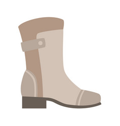 Grey wellington boot isolated footwear flat icon vector