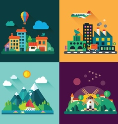 Urban and village landscapes vector