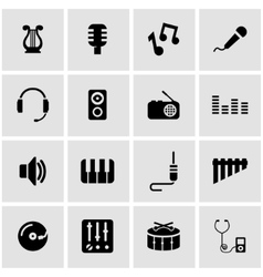 Black music icon set vector
