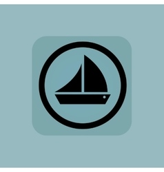Pale blue sailing ship sign vector