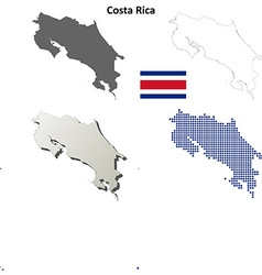 Costa rica outline map set vector