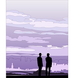 Businessmen negotiation silhouette vector