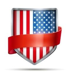 Shield with flag usa and ribbon vector