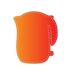 Electric kettle sign orange applique isolated vector