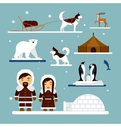 set of eskimo characters with igloo house vector image
