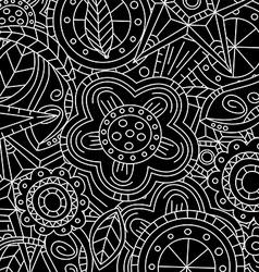 Black floral flower pattern doodle vector