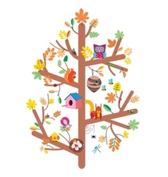 Autumn tree kids design flat vector