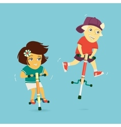 Boy and girl ride on jumpers vector