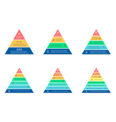 Business infographics triangle pyramid with 3 4 vector