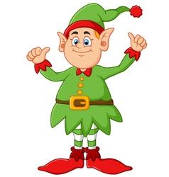 Cartoon elf giving two thumbs up vector