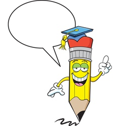 Cartoon Pencil with Word Balloon vector image vector image