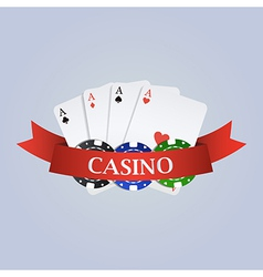 Casino with ribbon playing cards and chips vector