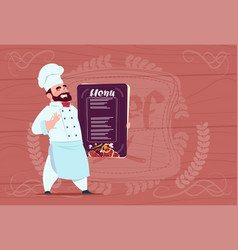 Chef cook holding restaurant menu smiling cartoon vector