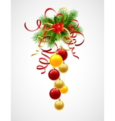 Christmas decoration holly with berries and vector