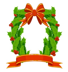 christmas holly and fir garland vector image vector image