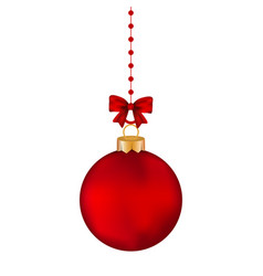 Christmas red ball with bow on a tape vector