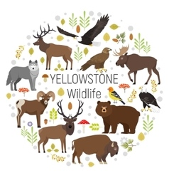 Circle set of plants and yellowstone vector