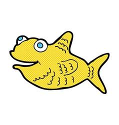 Comic cartoon happy fish vector