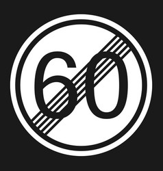 End maximum speed limit 60 sign flat icon vector