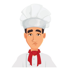 face expression of chef man sad tired vector image vector image