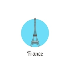 France tower landmark isolated round icon vector image