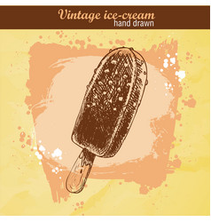 Hand drawn sketch chocolate ice cream lolly vector