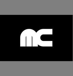 mc m c black white bold joint letter logo vector image