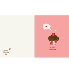 muffin and cherry best friends Happy Valentines vector image