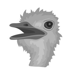 ostrich icon in monochrome style isolated on white vector image vector image