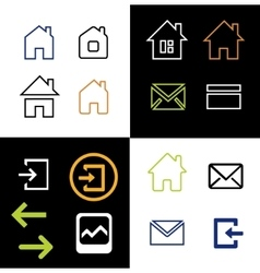 Outline web icons set - house letter vector image vector image