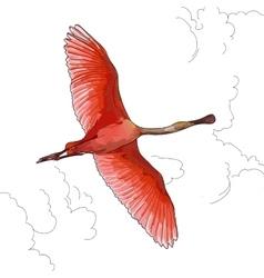 Pink flamingos in flight vector