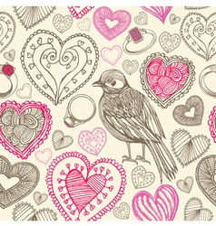 Retro Birds Hearts Doodles Pattern vector image vector image