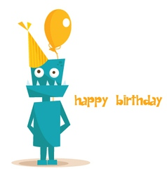 robot birthday vector image vector image