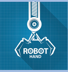 Robotic arm symbol on blueprint paper vector