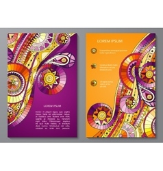 Set of Poster Templates with doddle pattern vector image vector image
