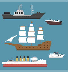 ship cruiser boat sea symbol vessel travel vector image