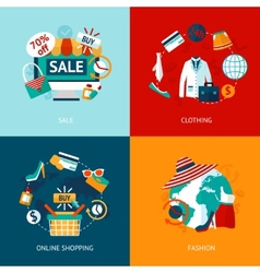Shopping clothing flat icons set vector