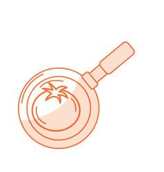 Silhouette tomato vegetable inside skillet pan vector